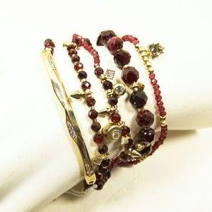 KENDRA SCOTT Supak Gold Bracelet Set In Garnet